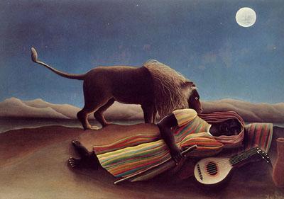 Rousseau Lev na poušti